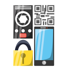 Smartphone with security electronic elements vector