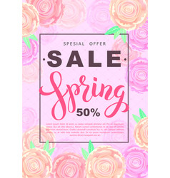 Spring sale banner with rose flowers on rose vector