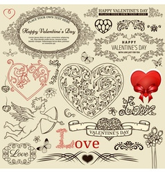 Valentine design elements vector image vector image