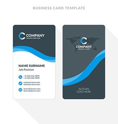 Vertical Doublesided Business Card Template Blue Vector Image - Two sided business card template