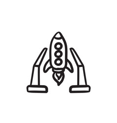 Space shuttle on take-off area sketch icon vector