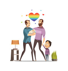 Gay loving family retro cartoon vector