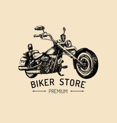 Biker store advertising poster hand drawn vector