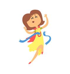 Cute cartoon woman crossing blue finishing line vector