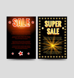 Shining sale brochure flyers template vector