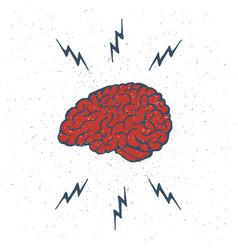hand drawn brain lightning bolts vector image
