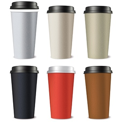 Set of paper cups isolated on a white background vector