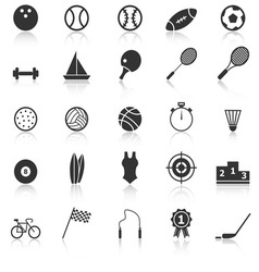Sport icons with reflect on white background vector image