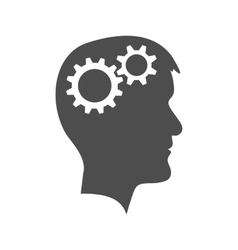 Man head with gear wheel vector