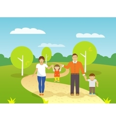 Family outdoors vector