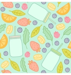 Fruits berries and smoothie jars outline seamless vector