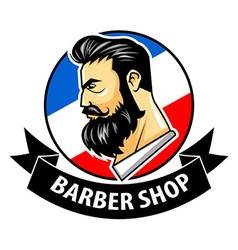 Barbershop with ribbon logo vector