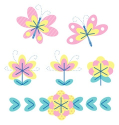Flower and fly vector