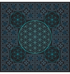 Circle flower of life fractal sacred geometry vector