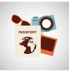 Passport travel camera sunglasses vector