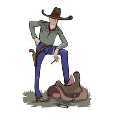 a cowboy with a steaming cigarette vector image