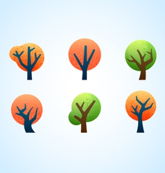 abstract illustrated trees vector image vector image