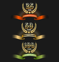 anniversary golden logo set vector image vector image