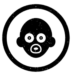 Baby head rounded grainy icon vector
