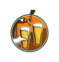 Beer pint glass hand tap retro vector
