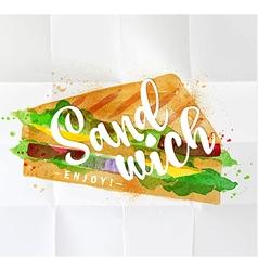 Burger sandwich watercolor vector image