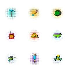Coal icons set pop-art style vector