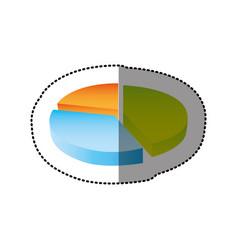 Color circular statistic graph icon vector