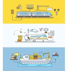 Concept of freight forwarding rail by sea and air vector