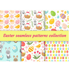 cute easter seamless pattern collection with birds vector image