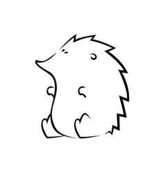cute hedgehog silhouette on white vector image vector image