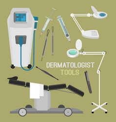 Dermatologist equipment set vector