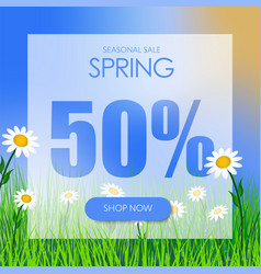 Design square banner for the spring sale at a vector