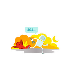 Error page 404 not found crash accident with vector