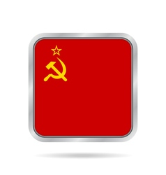 Flag of soviet union metallic gray square button vector