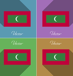 Flags Maldives Set of colors flat design and long vector image vector image
