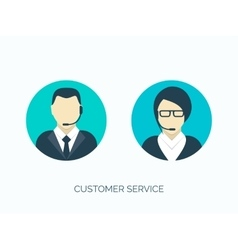 Flat customer service avatars vector image vector image