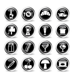 food and kitchen simply icons vector image