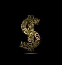 golden dollar sign vector image vector image