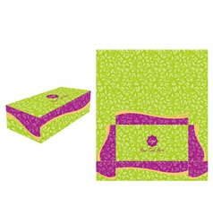 Green and violet cake box vector