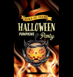 halloween party flyer with pumpkin and fire flames vector image vector image