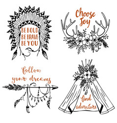 hand drawn boho style design elements with vector image vector image