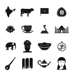India travel icons set simple style vector