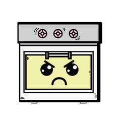 Kawaii cute angry oven technology vector