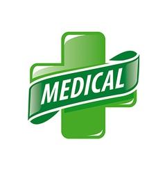 Logo green cross and a ribbon vector