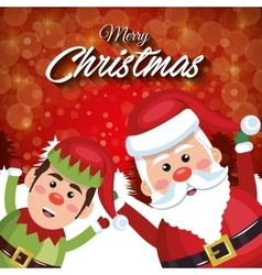 Merry christmas santa claus elf happy red vector