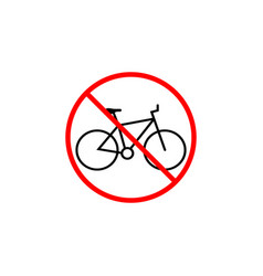 No bicycle line icon bike prohibition sign vector