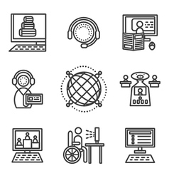 Online education simple icons set vector image
