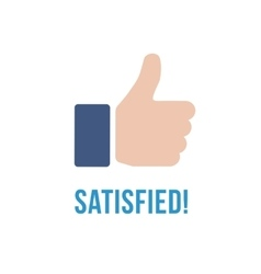Satisfied icon with text Thumb up flat sign vector image vector image
