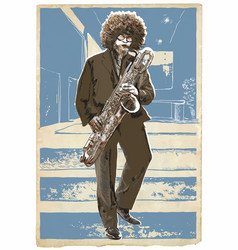 Saxophonist in the blue room an young sax man vector