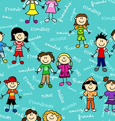 Seamless kids friendship pattern2 vector